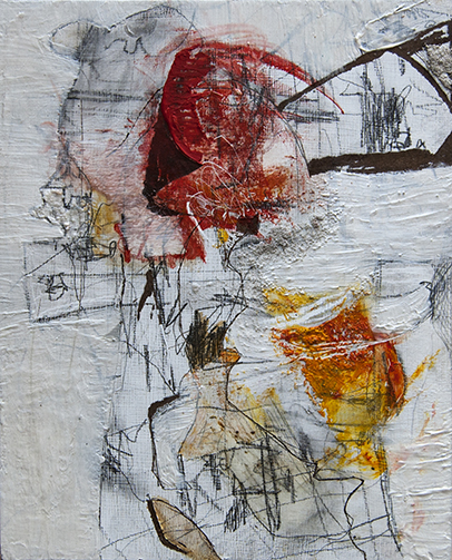 """""""Panel III"""" acrylic, graphite, charcoal on wood panel"""