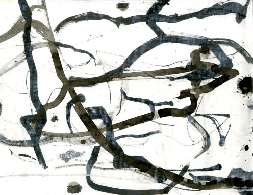 """""""Analytical Abstraction #18"""" 11""""X8.5"""" sumi ink, acrylic on paper"""