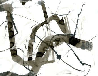 """Analytical Abstraction #20"" 11""X8.5"" sumi ink, acrylic on paper"