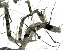 """Analytical Abstraction #51"" 11""X8.5"" sumi ink, acrylic, charcoal on paper"