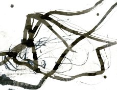 """Analytical Abstraction #24"" 11""X8.5"" sumi ink, acrylic on paper"
