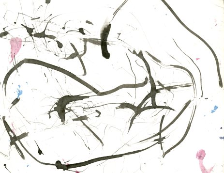 """Analytical Abstraction #26"" 11""X8.5"" sumi ink, acrylic on paper"