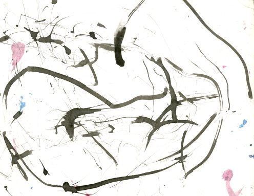 """""""Analytical Abstraction #26"""" 11""""X8.5"""" sumi ink, acrylic on paper"""