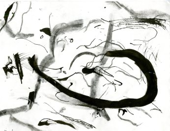 """Analytical Abstraction #27"" 11""X8.5"" sumi ink, acrylic on paper"