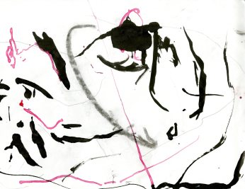 """Analytical Abstraction #28"" 11""X8.5"" sumi ink, acrylic on paper"