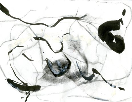"""Analytical Abstraction #29"" 11""X8.5"" sumi ink, acrylic on paper"