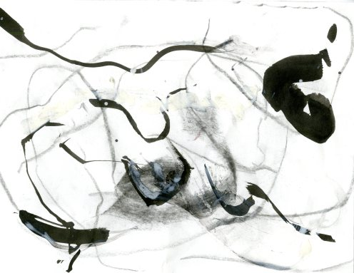 """""""Analytical Abstraction #29"""" 11""""X8.5"""" sumi ink, acrylic on paper"""