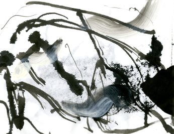 """Analytical Abstraction #39"" 11""X8.5"" sumi ink, acrylic, charcoal on paper"