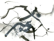 """Analytical Abstraction #41"" 11""X8.5"" sumi ink, acrylic, charcoal on paper"