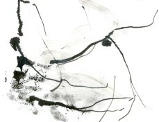 """Analytical Abstraction #42"" 11""X8.5"" sumi ink, acrylic, charcoal on paper"