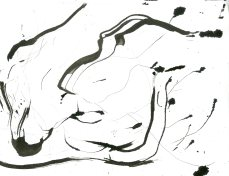 """Analytical Abstraction #45"" 11""X8.5"" sumi ink, acrylic, charcoal on paper"