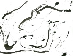 """""""Analytical Abstraction #45"""" 11""""X8.5"""" sumi ink, acrylic, charcoal on paper"""