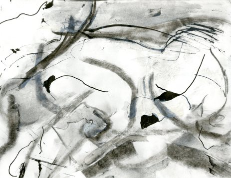 """Analytical Abstraction #48"" 11""X8.5"" sumi ink, acrylic, charcoal on paper"
