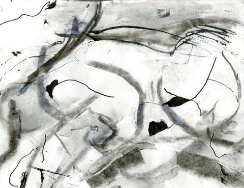 """""""Analytical Abstraction #48"""" 11""""X8.5"""" sumi ink, acrylic, charcoal on paper"""