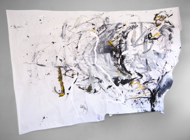 """The Stomach and Legs"" 72""X96"" acrylic, charcoal, sumi ink on paper"