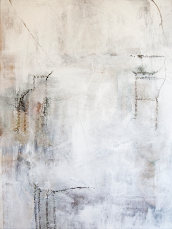 """The Window Is Always Foggy"" 40""X30"" oil, acrylic, charcoal, thread on stretched raw canvas"