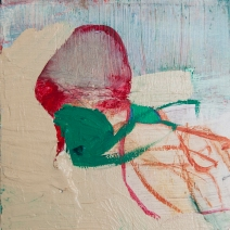 """""""Buried"""" 4""""X4"""" mixed media on wood panel"""
