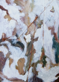 """""""Ensnared"""" 7""""X5"""" oil, waxed thread on panel"""
