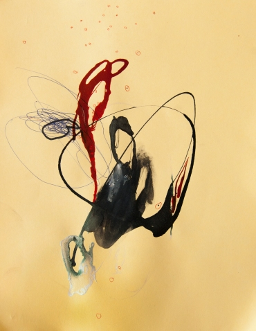"""""""Soaked Strings #20"""" 11""""X8.5"""" mixed media on cardstock"""