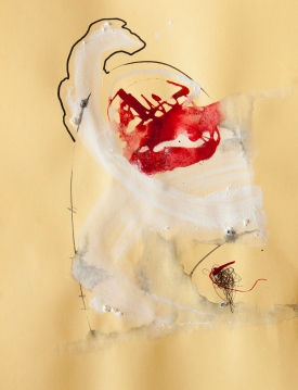 """""""Soaked Strings #24"""" 11""""X8.5"""" mixed media on cardstock"""