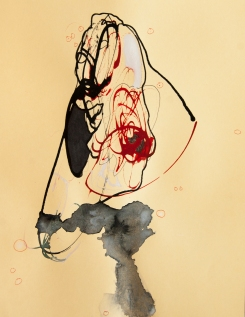 """""""Soaked Strings #28"""" 11""""X8.5"""" mixed media on cardstock"""
