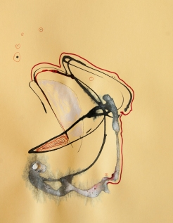 """""""Soaked Strings #30"""" 11""""X8.5"""" mixed media on cardstock"""