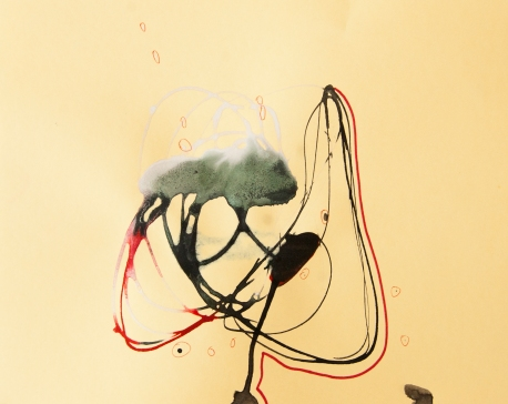 """""""Soaked Strings #32"""" 8.5""""X11"""" mixed media on cardstock"""