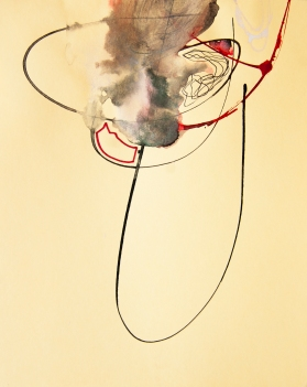 """""""Soaked Strings #7"""" 11""""X8.5"""" mixed media on cardstock"""