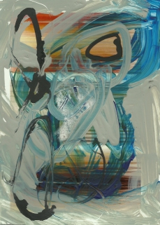 """Paintings on Postcards #8"" acrylic on past art show postcardsension_paintingsonpostcards_8_2014"
