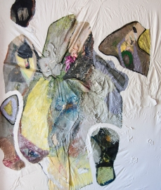 """""""Death Feels Merely Like a Passing Dream"""" 62""""X47"""" mixed media on stretched bed-sheet"""