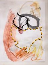 """Stitched Stagnation #1"" 12""x9"" graphite, ink, pastel, plastic rope, vellum, paper"