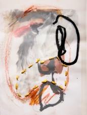 """Stitched Stagnation #2"" 12""x9"" graphite, ink, pastel, plastic rope, vellum, paper"