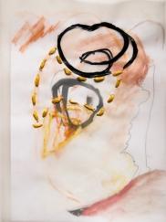 """Stitched Stagnation #3"" 12""x9"" graphite, ink, pastel, plastic rope, vellum, paper"