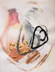 """Stitched Stagnation #4"" 12""x9"" graphite, ink, pastel, plastic rope, vellum, paper"