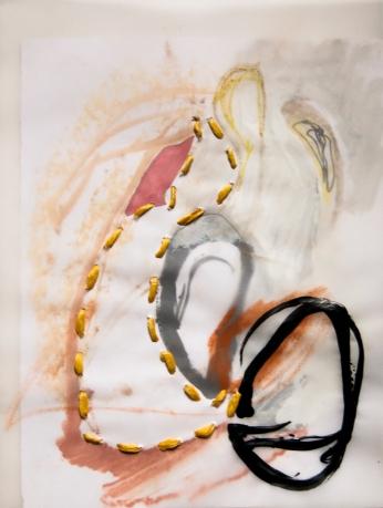 """Stitched Stagnation #6"" 12""x9"" graphite, ink, pastel, plastic rope, vellum, paper"