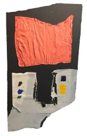 """A New Door Has Opened"" 40""X21"" acrylic, latex paint, paper, fabric, thread, foam board"