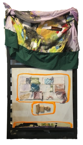 """""""Below the Surface Are Remnants of Something Unrecognizable"""" 52""""X28"""" acrylic, marker, india ink, charcoal, masking tape, paper, wood, fabric, thread, found furniture"""