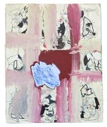 """""""Dancing Behind the Gate"""" 14""""X12"""" acrylic, latex paint, paper, pen, foam block, wood"""
