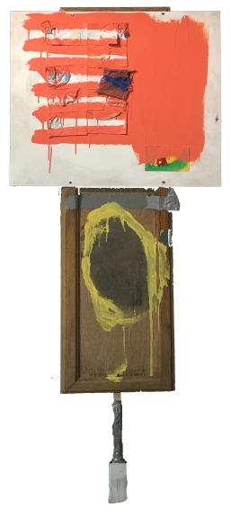 """""""Held Up on a Moment"""" 65""""X24"""" acrylic, latex paint, fabric, paper, duct tape, wood, found furniture, paint brush"""