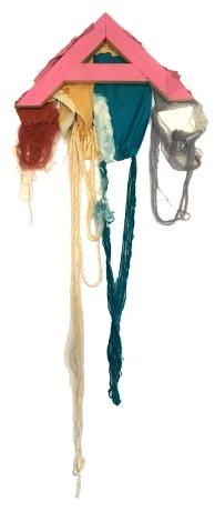"""A Little Piece of Me #2"" 38""X16"" fabric, thread, yarn, acrylic, wood"