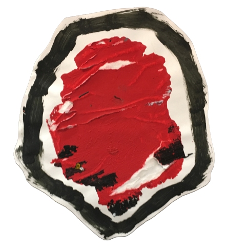 """Imprint #11"" 11""X10"" acrylic, latex paint, paper, foam board,"