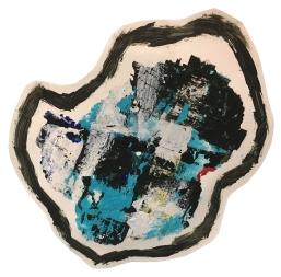 """Imprint #12"" 10""X10"" acrylic, latex paint, paper, foam board,"