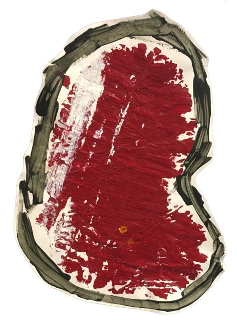 """Imprint #2"" 8""X10"" acrylic, latex paint, paper, foam board,"