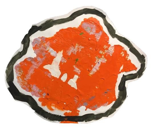 """Imprint #6"" 9""X11"" acrylic, latex paint, paper, foam board,"