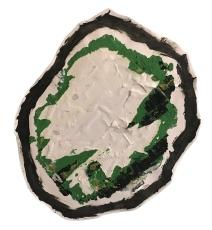 """Imprint #7"" 12""X11"" acrylic, latex paint, paper, foam board,"