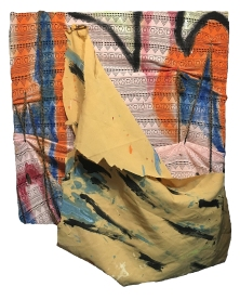 """""""I Stitched it Up and Let it Go"""" 32""""X24"""" acrylic, latex paint, india ink, fabric, wood"""