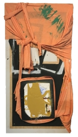"""""""What Are You Holding Onto"""" 48""""X24"""" acrylic, paper, charcoal, colored pencil, pen, fabric, foam block, wood"""