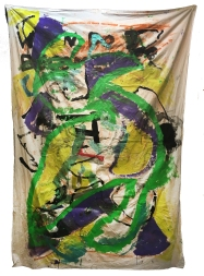 """WhenDoIBe""""When Do I Become Me"""" acrylic, latex paint, chalk pastel, marker, pen, duct tape, paper, bed-sheet"""