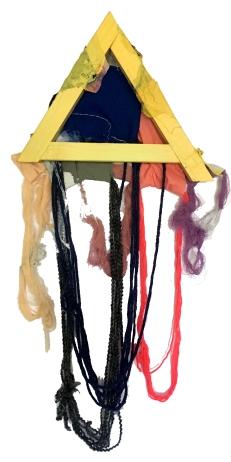 """A Little Piece of Me #3"" 38""X16"" fabric, thread, yarn, acrylic, wood"